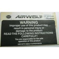 COX Airplane No. 0001 AW Airwolf Pilots Flight Manual