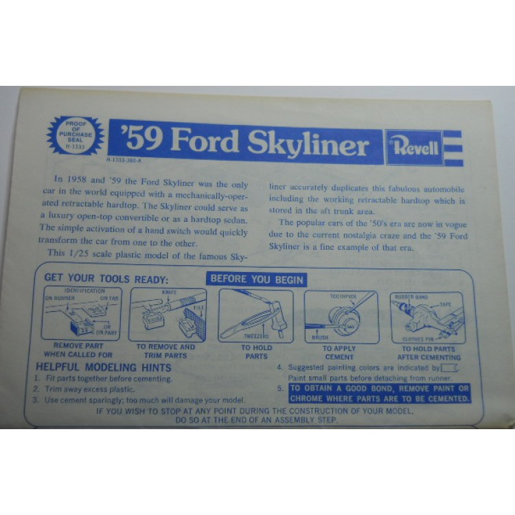 Revell No 0009 Scale Model Instructions 59 Ford Skyliner