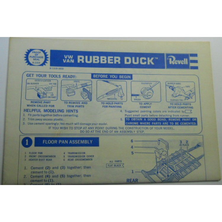 Revell No 0006 Scale Model Instructions V W Van Rubber Duck