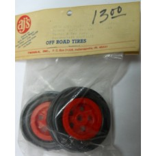 AJ's No. 9723 Red Front Grooved Tires for Tamiya and Cox