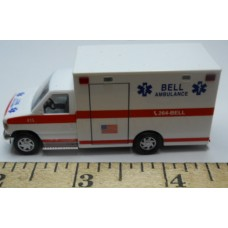 Herpa No. 0013 HO 1-87 Busch Ambulance Bell White with Red Stripe Chrome Wheels