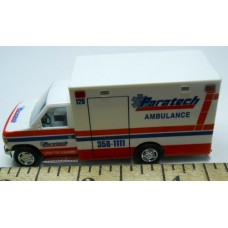 Herpa No. 0014 HO 1-87 Busch Ambulance Paratech White with Blue and Red Stripe Chrome Wheels